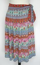 Vintage wrap skirt - Indian print polyester crepe - Pink / Multi -  UK 8