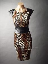 Sale Leopard Print 50s Pinup Rockabilly Strong Shoulder Wiggle 55 ac Dress XS/S