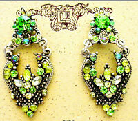 ICON 1.5 GREEN MULTI CRYSTAL ACRYLIC FLORAL DANGLE SILVER EARRINGS BUTTERFLY NEW