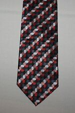"Bergamo Necktie New York Textured Geometric Black Red Tie 3.5"" x 59"""