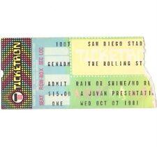 Rolling Stones ticket San Diego Stadium 07/11/81