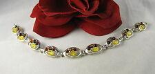 Sterling Silver Multi Tone Amber  Bracelet  FERAL CAT RESCUE