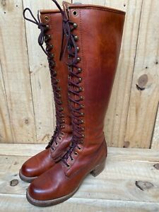 Excellent 🔥 Vintage Frye Tall Lace Up Riding Boots Made in USA Leather Sz- 7 B