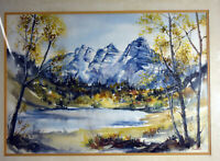 """20"""" Vtg Watercolor J. Gunther Painting Paper Mountains Forestscape Blue Lake"""