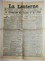 N538 La Une Du Journal La lanterne 5 juillet 1905 la fin d'un grand débat