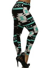 Plus Size Leggings XL-2X Polyester Spandex Black Aqua White Tribal Print EEVEE