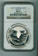 AUSTRALIA 2011-P $1 .999 1 OZ. SILVER KOALA BEAR NGC MS-69 GEM BU WHITE SPOTS