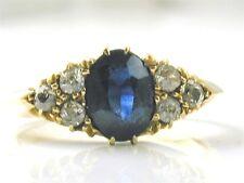 Antique Ceylon sapphire & diamond 18 ct gold ring size J made 1908 Art Nouveau