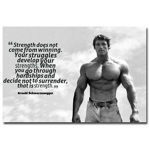 ARNOLD SCHWARZENEGGER Bodybuilding Fitness Motivational Quotes Silk Poster