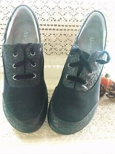 Alegria size 40 black Leather Lace Wedge Comfort Shoes
