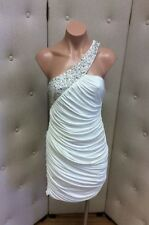 A.B.S White Ruched Cocktail Dress - One Shoulder with Crystal Beads - Size M