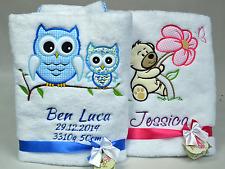 Babydecke mit Namen & Datum BESTICKT Decke Kuscheldecke Geschenk Taufe Geburt
