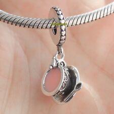 925 Sterling Silver Enchanted Tea Cup Dangle Charm Pale Pink Enamel Fit Bracelet