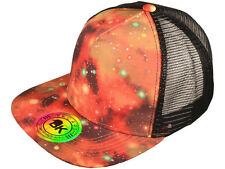 NEW GALAXY PRINT TRUCKER HAT snapback cap adjustable space planets red black