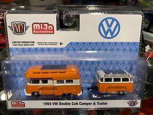 M2 Machines Mijo Exclusives 1959 VW Double Cab Camper & Trailer 1/64 Volkswagen