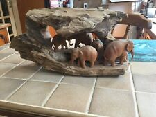 WOODEN HAND CARVED ELEPHANT GROUP(LARGE)