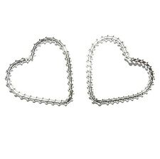 M796f Heart 30mm Silver-Finished Wire-Wrapped Jewelry Design Component 10pc