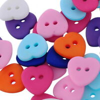 100PCs Mixed 2 Holes Resin Heart Buttons Fit Sewing and Scrapbooking DIY