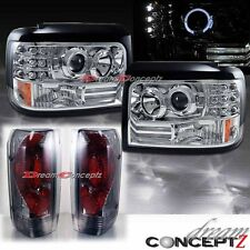 FORD BRONCO F150 HALO PROJECTOR HEADLIGHTS CHROME w/ LIGHT SMOKED TAIL LIGHTS