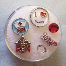 CLEARANCE LOT #23 NURSING NURSE RN FLOATING CHARM SET FOR GLASS MEMORY LOCKETS