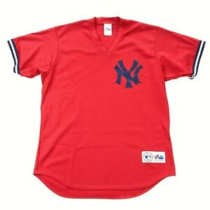 VTG New York Yankees Men's Majestic Jersey Red Mesh Pullover USA • LARGE