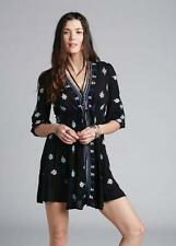 132049 NEW $128 Free People Stargazer Mini Embroidered V Neck Black Dress XS US