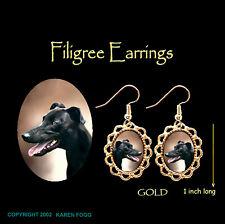 Greyhound Dog Black - Gold Filigree Earrings Jewelry