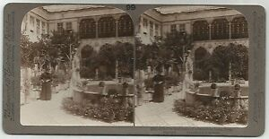 STEREOSCOPIC PHOTOGRAPH-DAMASCUS. The Inner Court of a Damascus Home.