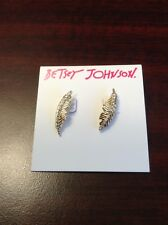 NWT Authentic Betsey Johnson Angels and Wings Gold-tone Feather Stud Earrings