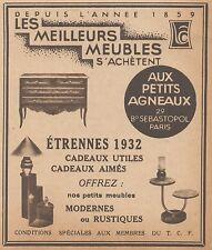 Z9260 Meubles Aux Petits Agneaux -  Pubblicità d'epoca - 1932 Old advertising