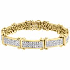 "Diamond Statement Link Pave Bracelet Mens 10K Yellow Gold 8"" Round Cut 6.29 Ct."
