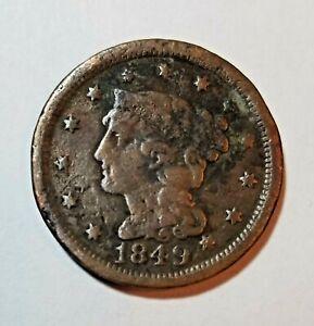 1849 Braided Hair ~ Coronet Large US Cent~ Details~Scarce Philadelphia Mint #D20