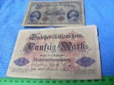 Germany...Lot of 2 Used Banknotes ,one large 1914 year ,one average size 1914.