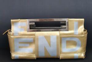 FENDI Vintage Gold Cluth  Bag