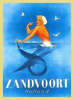 Zandvoort Holland Europe Mermaid Vintage Travel Art Poster Advertisement Print