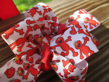 """Hair Bows a pair of Med 2"""" Red Elmo, so many Elmos, Big and Small on a clip USA"""
