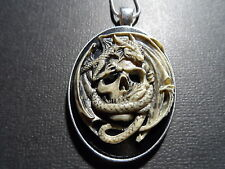 "CAMEO HAND PAINTED DRAGON SKULL NECKLACE UNISEX 20"" CHAIN"