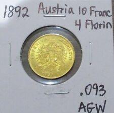 1892 Austria 10 Francs 4 Florin Gold Coin .093 Agw Austrian