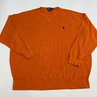 Polo by Ralph Lauren T Shirt Mens Size 1XB Big Long Sleeve Orange Knit Crew Neck
