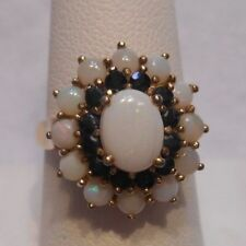 *Estate~Genuine Opal & Sapphire 925 Sterling Silver Halo Cocktail Ring Size 8