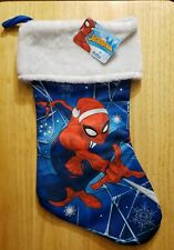 Marvel Spiderman Silky Christmas Stocking NWT Blue Red White. 17 inches.