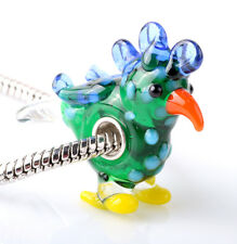 1pcs SILVER MURANO GLASS BEAD LAMPWORK Animal fit European Charm Bracelet DW289