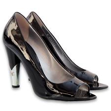 $708 CHANEL Patent Leather Metal CC Logo Heels Peep Toe Pumps - Black - Size 38