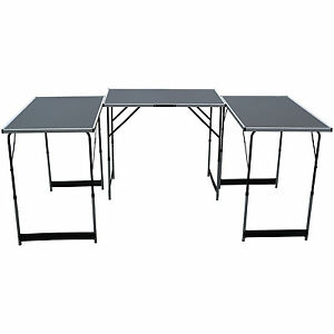 Set of 3 Folding Trestle Tables Car Boot Market Stall Compact Portable Fete Fair