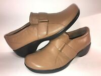 EASY SPIRIT SZ 10 BROWN LEATHER SLIP ON WOMEN LOAFERS SHOES WS10-4-2