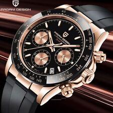PAGANI DESIGN Chronograph Waterproof Japan Quartz Men's Wrist Watch Rubber Strap