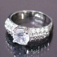 1 Ct Round Cubic Zirconia Ring Women Wedding Jewelry 14K White Gold Plated