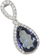 Mystic Quartz Pear Gemstone Sparkling Elegant Sterling Silver Pendant + Chain