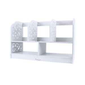 2 Tier White Desktop Bookshelf Shelf Rack Bookcase Home Office Desk Organizer UK