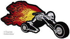 FLAMING SKELETON MOTORCYCLE PATCH - FIRE SKULL IRON-ON EMBROIDERED CHOPPER BIKER